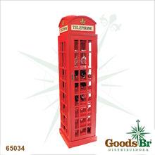 ADEGA MADEIRA CABINE TELEFONICA VERMELHA OLDWAY 171x44x44cm