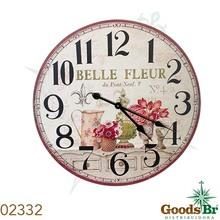 _RELOGIO PAREDE MDF FLOR BELLE FLEUR OLDWAY D=60 60x60x3cm
