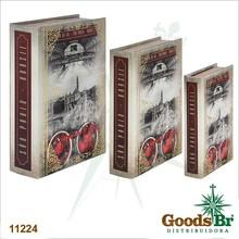 BOOK BOX CJ 3PC SAO PAULO ESTACAO LUZ OLDWAY 36x25x10cm