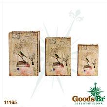 _BOOK BOX CJ 3PC SEDA PASSARO GAIOLA OLDWAY 36x25x10cm