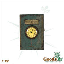 BOOK PORTA CHAVE PAREDE AZUL RELOGIO OLDWAY 33x22x9cm