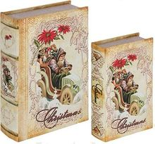 _BOOK BOX CJ 2PC CHRISTMAS ROSAS SEDA OLDWAY 27x18x7cm