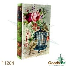 _BOOK BOX CJ 3PC PU PASSARO GAIOLA AZUL OLDWAY 33x22x7cm