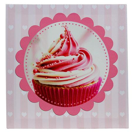-tela impressa pink cup cake 20x20x4cm