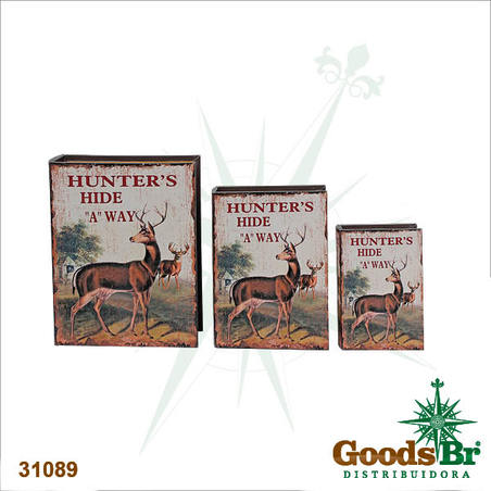 book box cj 3pc hunters hide alce  35x26x8cm