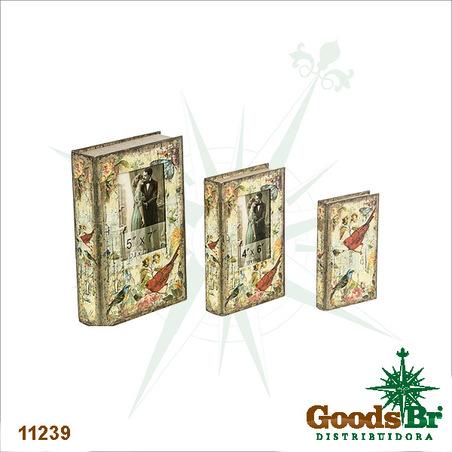 book box cj 3pc com fotos passaros  33x21x7,5cm
