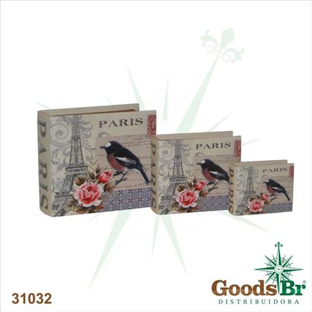 livro (book box) cj 3pc paris bird  23x20x8cm