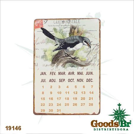 -calendario magnetico em metal passaro  21x14x0,1cm