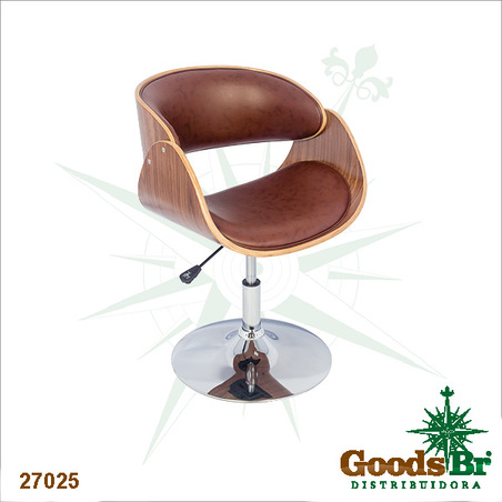 cadeira mad curva base cromada pu marrom  82x53x50c