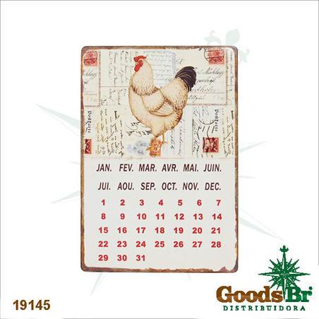 -calendario magnetico em metal chicken  21x14x0,1cm