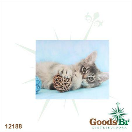 tela gato deitado c/ bola vime  40x50x2,5cm