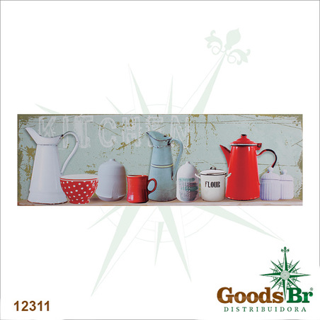 tela impressa xicaras e bules kitchen  45x140x4cm