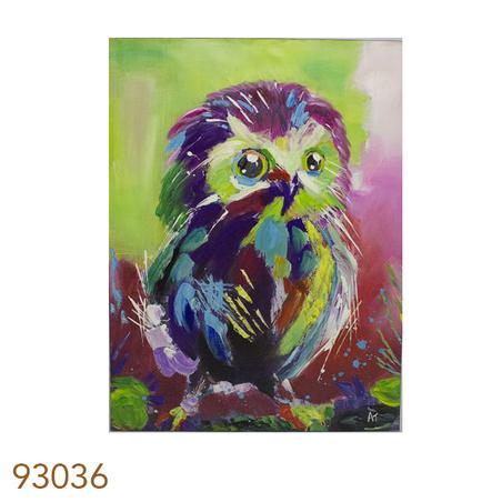 -quadro pintura de coruja  120x90x4cm