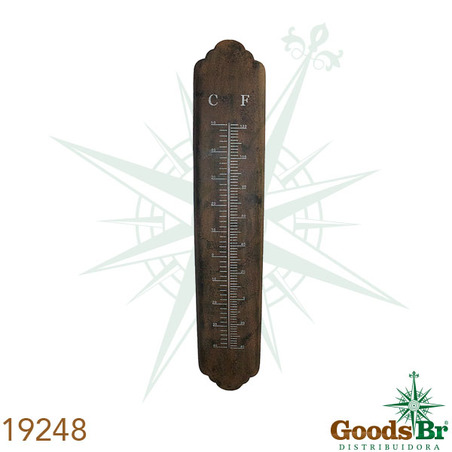 -termometro em metal marrom ferrugem  101x19x2cm
