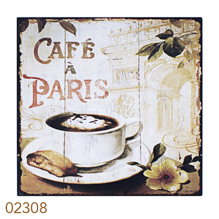 placa de metal cafe de paris 25x25cm