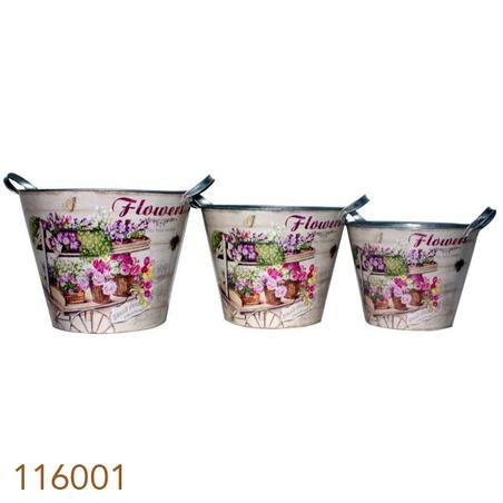 -baldes de zinco cj 3pc de flores  33x33x30cm