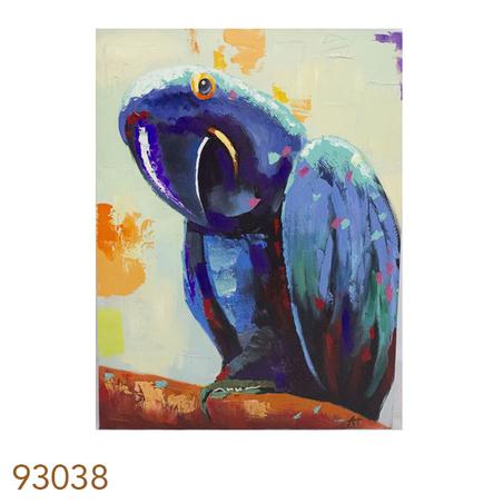 -quadro pintura de papagaio azul  120x90x4cm
