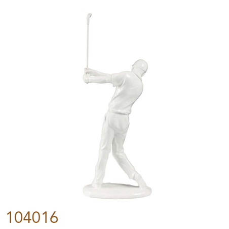estatua golfista branco  47x19x15cm