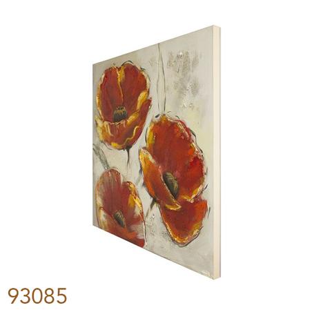 qdro pintura 3flores vermelh fdo branco  80x80x4cm