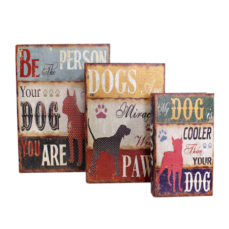 book box cj 3pc dogs  35x26x9cm