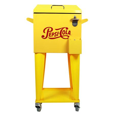 cooler c/rodizio amarelo pepsi  89x36x31cm