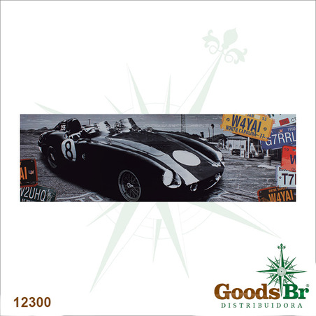 tela impressa carro preto placas  45x140x4cm
