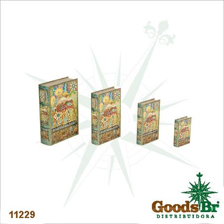 book box cj 4pc elefante vermelho   30x21x7cm