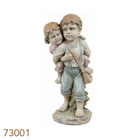 estatua criancas garupa  94x38x40cm