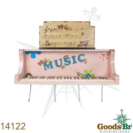 -movel d parede piano rosa com ganchos  26x101x26cm