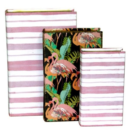 book box cj 3pc listras rosa flamingos 33x22x8cm