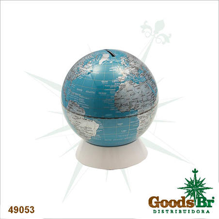 globo cofre azul/prata  15x14x14cm