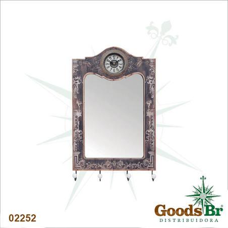 espelho 4 gancheiras com relogio  65x40x7cm