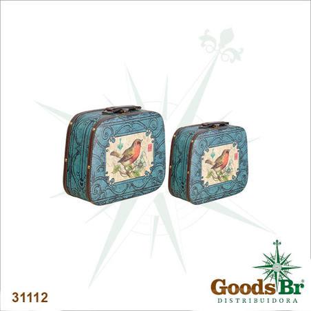 maleta cj 2pc azul arabesc com passaro  33x29x13cm