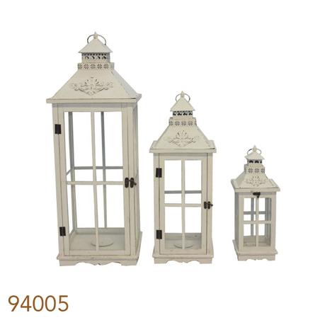 lanternas 3 pcs antique branca med  86x32x32cm
