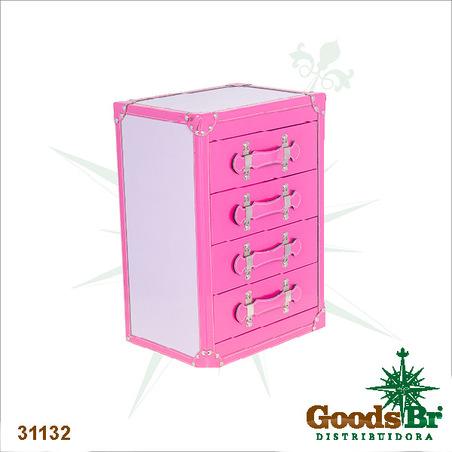-comoda 4 gavetas com porta joias rosa  50x34x25cm