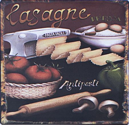 -placa de metal lasagne 25x25cm