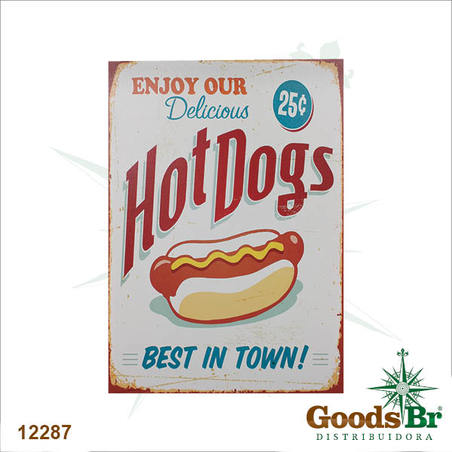 tela impressa hot dogs  70x50x4cm