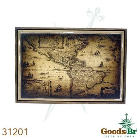 quadro linho antique mapa mar 60x90cm