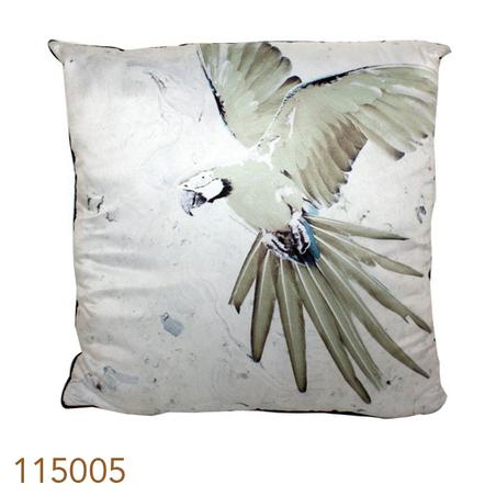 almofada branca arara verde45x45x12cm