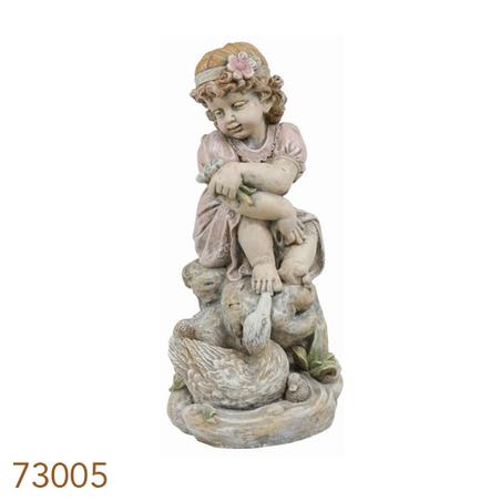 estatua menina flor  58x28x35cm