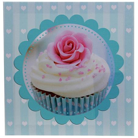 -tela impressa blue cup cake 20x20x4cm