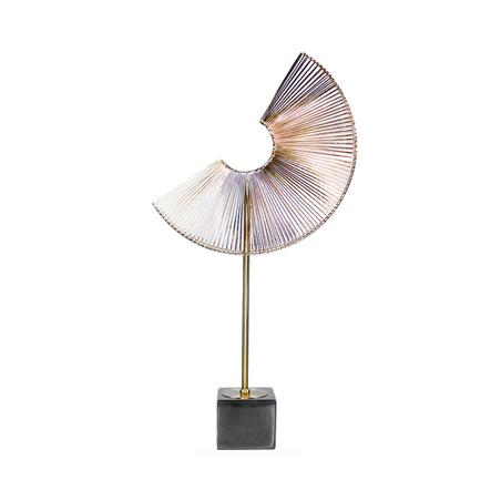 escultura leque metal douradopequeno 78x45x45cm
