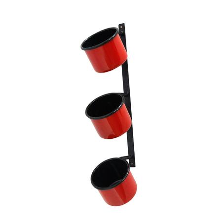floreira parede regulavel 3 cubas vermelha 10x56x20cm