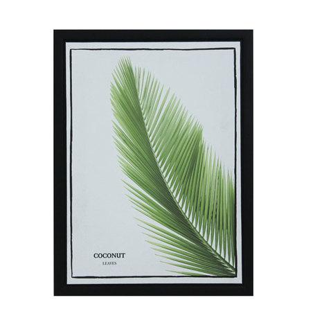 tela impressa c/ mold folhas coconut  40x30x2,5cm