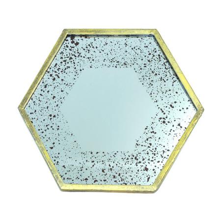 -espelho dourado exagonal  31x36x3cm