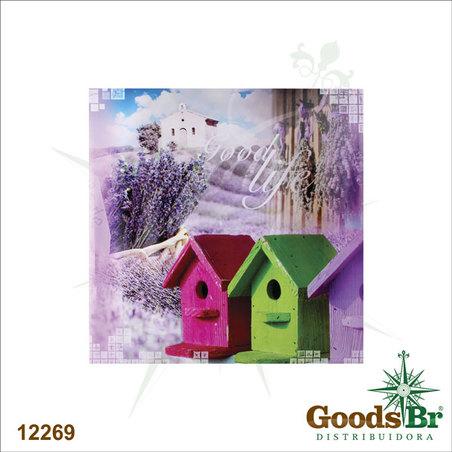 -tela impressa casas passaros good life  90x90x4cm