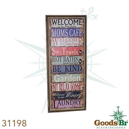 -quadro linho antique welcome  130x50x3cm