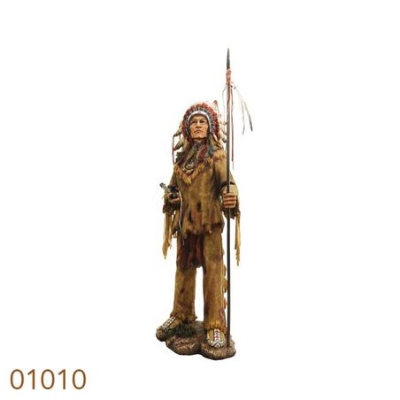 indio cacique com lanca 98x40x38cm