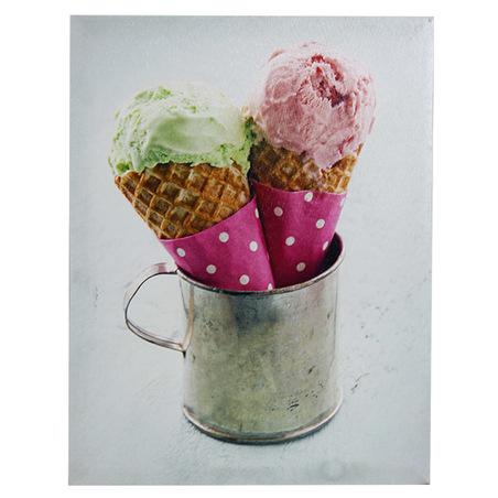 -tela impressa dois sorvetescol  30x40x1,8cm