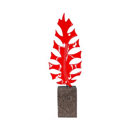 escultura folha samambaia pequena resina vermelha 54x17x10cm